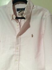 NEW RALPH LAUREN BUTTON DOWN OXFORD SHIRT PINK STRIPE BROADCLOTH LNG SLEEVE  M
