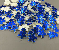 100X Blue Christmas tree Resin Buttons Sewing Crafts scrapbooking 17mm