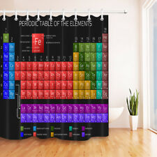 Periodic Table of Element Waterproof Bathroom Fabric Shower Curtain 12 Hooks Set