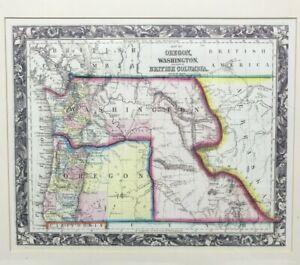 Vintage 90's Fine Reproduction Oregon Washington British Columbia Map Framed