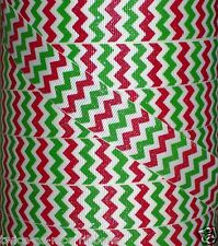 "5 yards 7/8"" CHRISTMAS RED LIME GREEN GLITTER ZIG ZAG CHEVRON GRINCH GROSGRAIN"