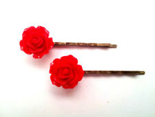 Red Rose Flower Vintage Style Bobby Pin Hair Accessory Set - Beautiful