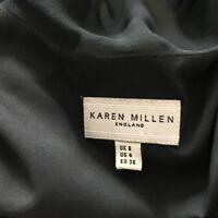 Karen Millen Black Silk Chiffon Floaty Cocktail Dress Draped Back UK 8 Evening
