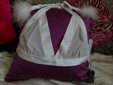 MYLA bridal wedding ivory white Pom Pom feather soft 100% SILK bra Size L