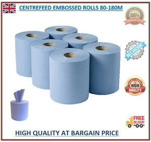 Centre Feed Rolls 6/12/24/48 2ply Embossed Kitchen Paper Towel Bigger Blue Rolls