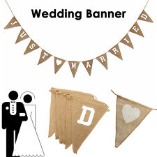 1pcs JUST MARRIED Shabby Jute Burlap Hessian Bunting Wedding Party Banner UK