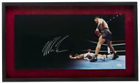 Mike Tyson Signed Framed Suede Matte 12x24 Boxing Panoramic Knockout Photo JSA