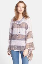 Free People M Crochet Lace French Terry Stripe Mama Sweatshirt Boho Poncho
