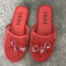 Chinese Floral Embroidered Red House Shoes Slippers SZ 7