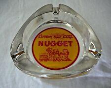 Vintage Carson City Nugget Casino Nevada Glass Triangle Ashtray - Train of Gold