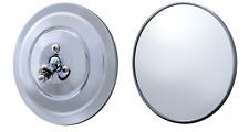 "Pair (2) 5"" Round Chrome Side RearView Mirrors With Ribbed Back"
