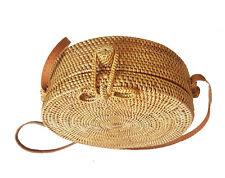 Handwoven Round Rattan Bag (Plain Weave, Ribbon Closure), Woven Bag, Rattan Bag