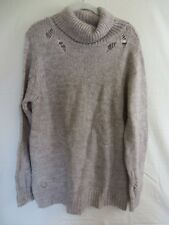 Forever 21+ Sweater Loose Fit Distressed Turtleneck Pullover Taupe 3X  #7703