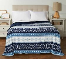 Berkshire Queen Printed Sherpa Blanket with Velvet Soft Reverse Seaglass,