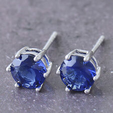 Round 9K White Gold Filled Blue sapphire Crystal Ladies Stud Earrings F5475