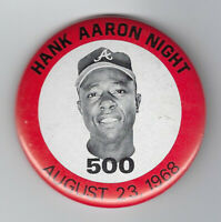 "1968 Hank Aaron Night 500 HR Atlanta Braves button pin 2 1/4"" vintage original"
