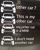 Classic Mini Window Sticker Decal Bumper Sticker  My Other Car Is A Mini