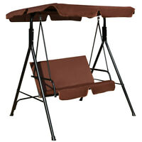 Outdoor Canopy Swing Patio Chair Lounge 2 Person Seat Hammock Porch Bench Brown