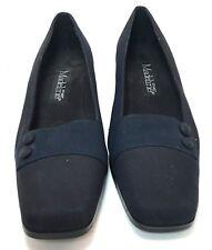 """Madeline Stuart Women's Shoes Size 8.5M Black/Navy 1,5"""" Low Heel Button Trim"""