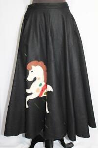 "RARE VINTAGE 1950'S CLASSIC BLACK WOOL FELT PONY CIRCLE SKIRT  27""-28""  WAIST"