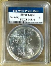 2013-(W) Silver Eagle PCGS MS70 Struck @ WEST POINT Mint   $1 Silver Coin