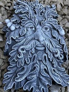 GREENMAN Tree Spirit Wiccan 22CM FACE PLAQUE GARDEN DECOR WALL HOME Stone Effect