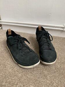 Mens Clarks Originals Black Trigenic Flex Vibram Size 9 Suede Moccasin Style