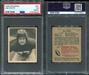 1948 Bowman #91 Jim White RC PSA 5 (MK) New York Giants Notre Dame