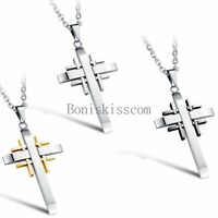 Men's Stainless Steel Equation Multi Cross Pendant Necklace Chain Christmas Gift