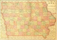 Beautiful Original 1899 Iowa Large Color Map/10x14