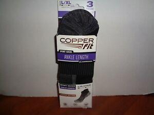 Copper Fit Infused Sport Ankle Socks 3 Pair Large L/XL Black Size M 9-12 W 10-13