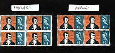 More details for  error major 1966 burns sg 686 1/3 block 4 blue shift mnh stamps
