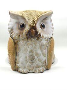 Gloss Ceramic OWL Paper Towel Holder Brown Cream Free Standing CUTE!