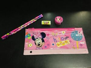 Disney Minnie Mouse Pencil Pouch with Pencils, Pink Sharpener & Eraser Set