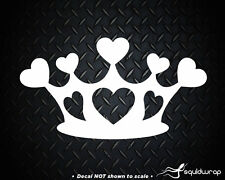 Crown Heart Love Princess Girly Cute Car Decal / Laptop Sticker - WHITE 4""