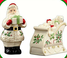 Lenox Holiday Santa Claus Sleigh with Toys Salt Pepper Shaker Christmas Set