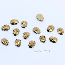 Top Quality 6x8mm skull Metallic Color flat back czech crystal Nails rhinestones