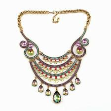 Vintage Gold Chain Colorful Crystal Pendant Chunky Necklace For Women Jewelry
