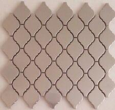"Stainless Steel Metal Lantern Arabesque Mosaic Wall Tiles Kitchen 12""x10 3/4"""
