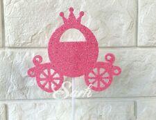 Pink glitter disney cinderella princess pumpkin carriage cake topper birthday
