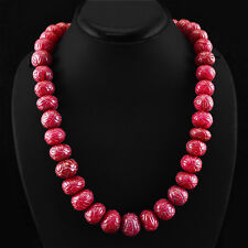 RARE 1005.00 CTS EARTH MINED RICH RED RUBY ROUND CARVED BEADS NECKLACE STRAND