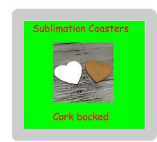 50 x MDF Blank Sublimation Heart Coasters 9cm x 9cm cork backed