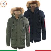Parka Uomo Invernale Giubbotto pelliccia cappuccio Blu Verde GIACCONE CANADIAN
