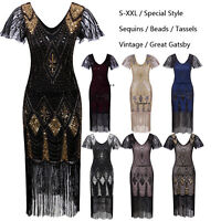 Ladies 20s 1920s Roaring Flapper Costume Vintage Sequin Gatsby 20's Fancy Dress