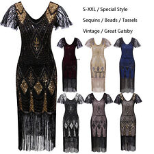 Ladies 20s 1920s Roaring Flapper Costume Vintage Sequin Gatsby 20's Fancy Dress