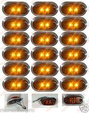 "3.25"" x 1.75"" Amber LED Surface Mount Clearance Marker Light Chrome DOT 18pk"