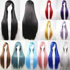 New 80cm Straight Sleek Long Full Hair Wigs w Side Bangs Cosplay Costume Womens