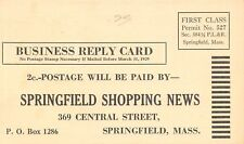 Springfield Shopping News MA Free Mailing List Request~1929 Postal~2c