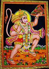 Hindu Monkey God Hanuman Batik Sequin Wall Hanging Cotton Tapestry Decor Art