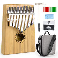 More details for finger piano thumb piano kalimba bamboo 17 key marib kit w/bag hammer book aklot